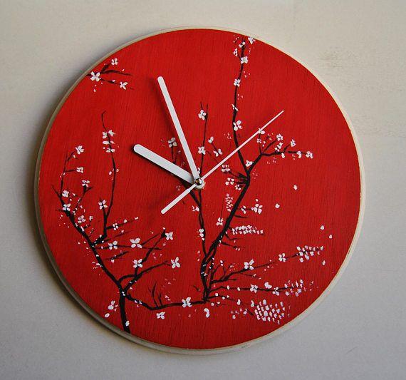 Reloj de pared de madera contrachapada. Silencioso. Flor de