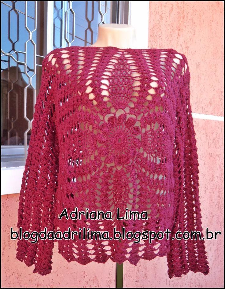 Blusa Bordô em crochê http://blogdaadrilima.blogspot.com.br/2016/11/blusa-bordo-em-croche.html