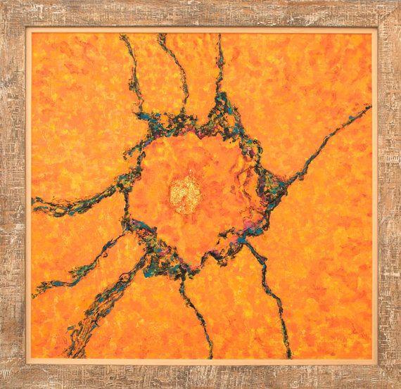 Fine art print red orange green giclee print on by MarilionFineArt