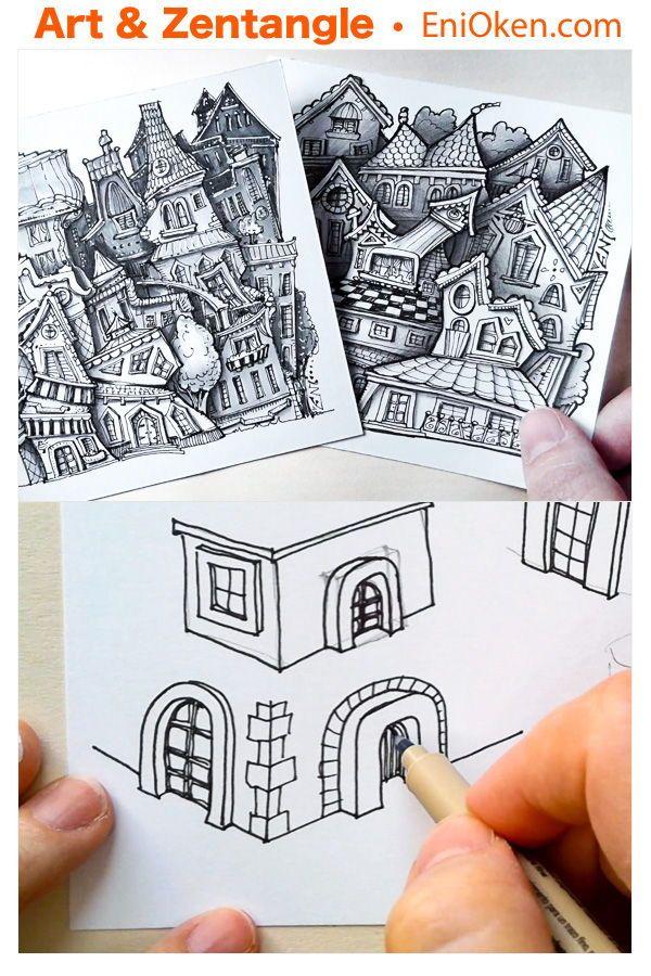 Learn to draw Zen-ful little houses • enioken.co…