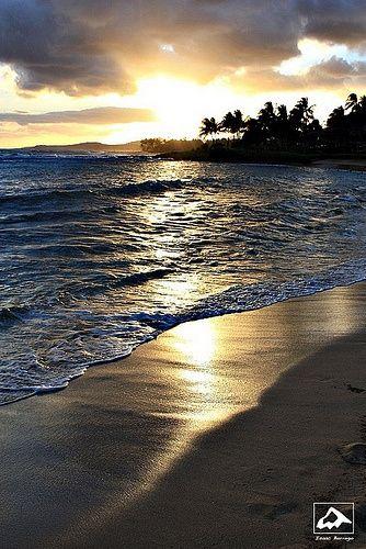 Sunset on Poipu Beach - Kauai, Hawaii