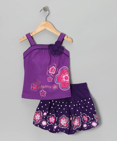 Take a look at this Purple 'Princess' Flower Tank & Skirt - Toddler & Girls by Littoe Potatoes on #zulily today!
