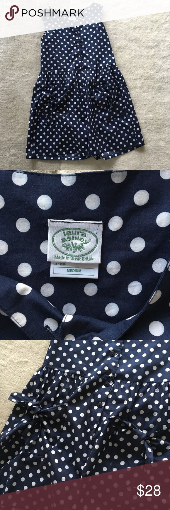 Laura Ashley polka dots jumper Laura Ashley vintage polka dots jumper, my favorite found so far, front buttons and two front pockets with knots, size m, can fit xs to m. 100% cotton, super adorable. It is in amazing vintage condition ❤️ Laura Ashley Pants Jumpsuits & Rompers