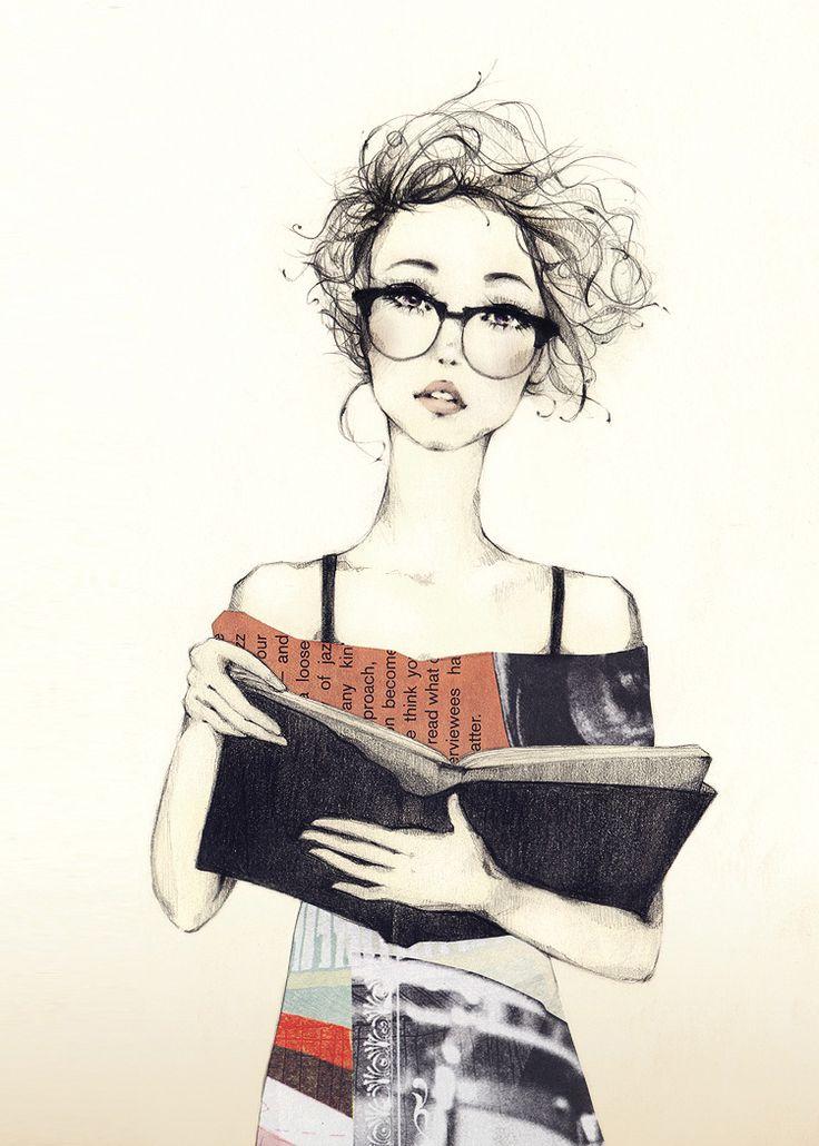 #books #girl #read #illustration