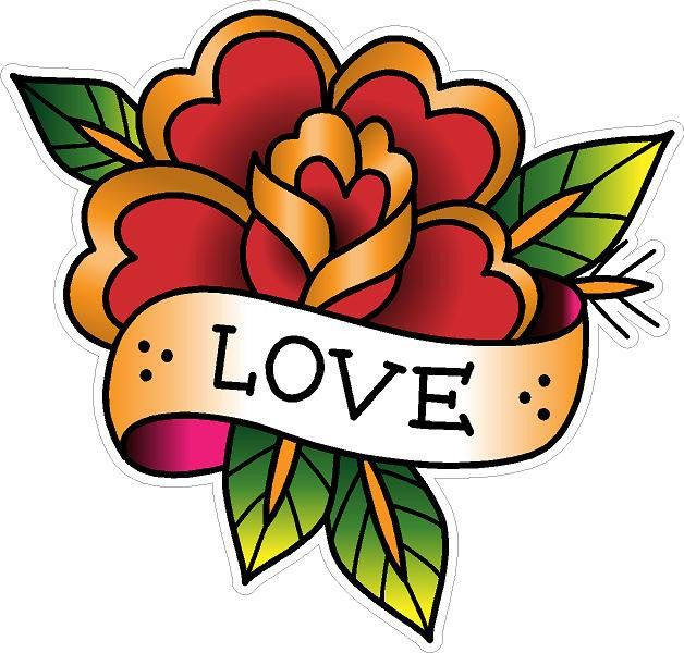 Details about #380 Vintage Old School Tattoo Decal Classic Flower Love Sailor Jerry Style