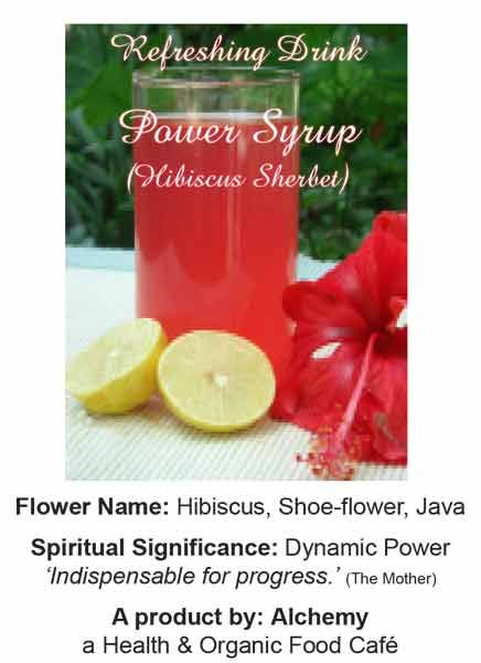 Ingredients: Organically grown hibsicus flowers, sugar, lemon, filtered water; no colours, no chemicals.
