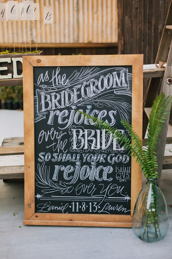 Chalk signage | photo by Shannen Natasha Weddings | Read more -  http://www.100layercake.com/blog/?p=71772
