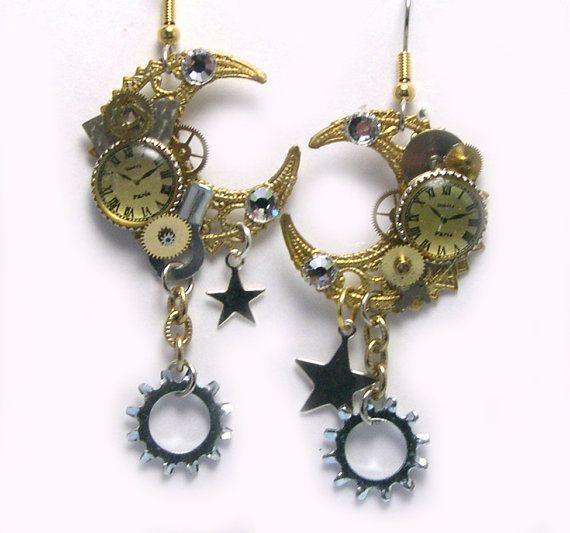 Watch Gear Steampunk Earrings Clock clockwork by LizonesJewelry, $32.50