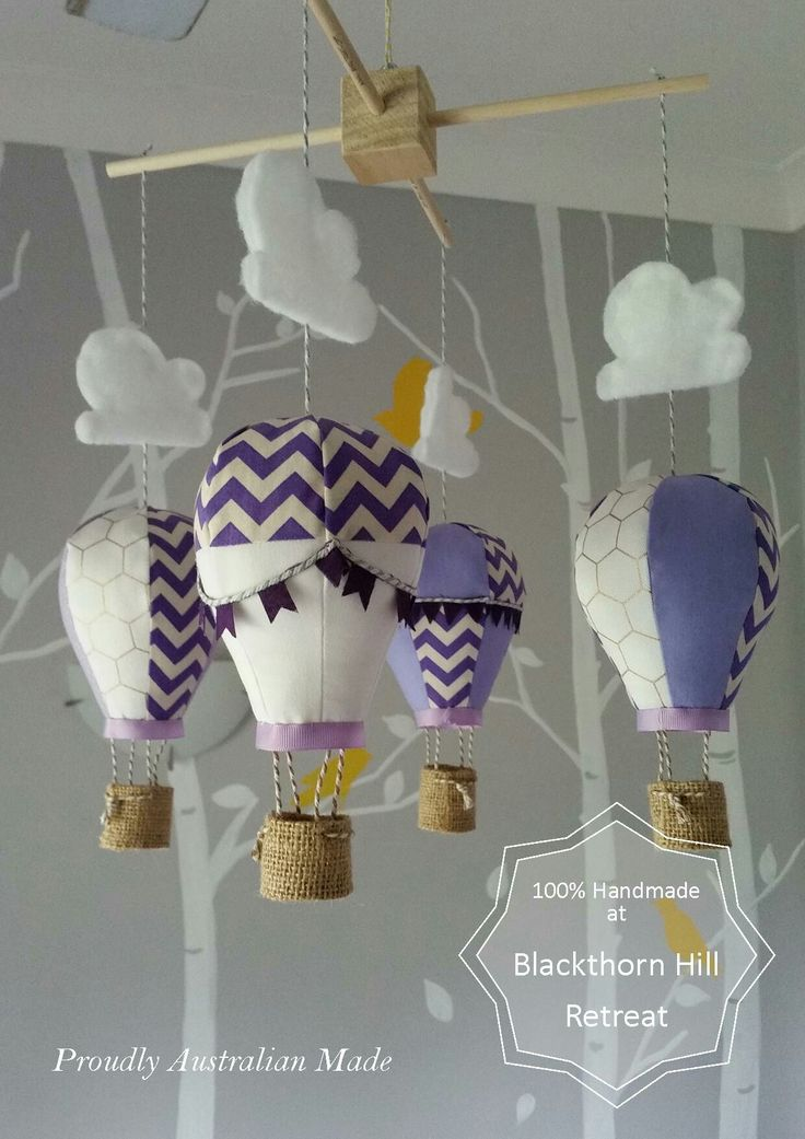 Handmade hot air balloon mobiles. Online shop at wwe.bhretreat.com