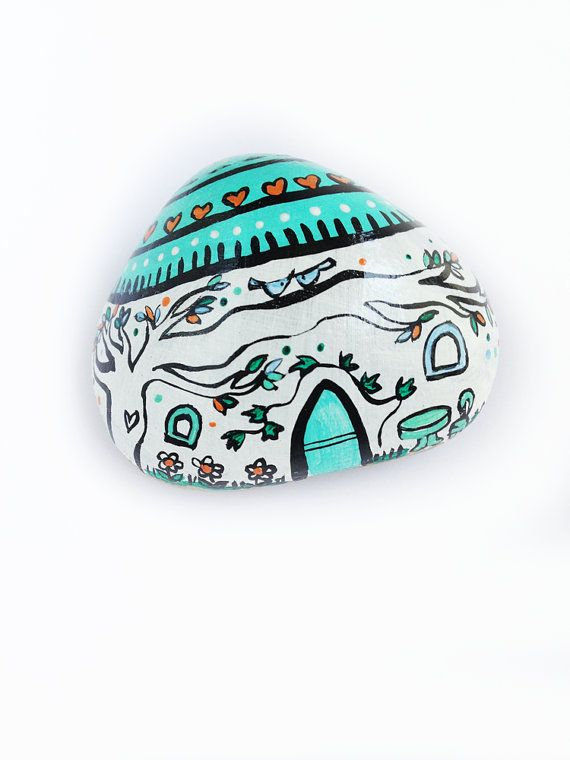 Handpainted paperweight house in acquamarina for your by Mammabook, €18.00