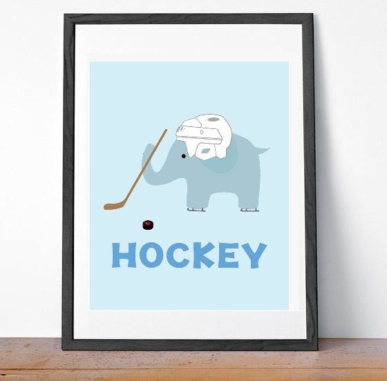 Baby Boy Hockey Elephant Nursery Art Decor, sports nursery art and decor - for boys room, childrens room - hockey baby hockey decor on Etsy, $15.00