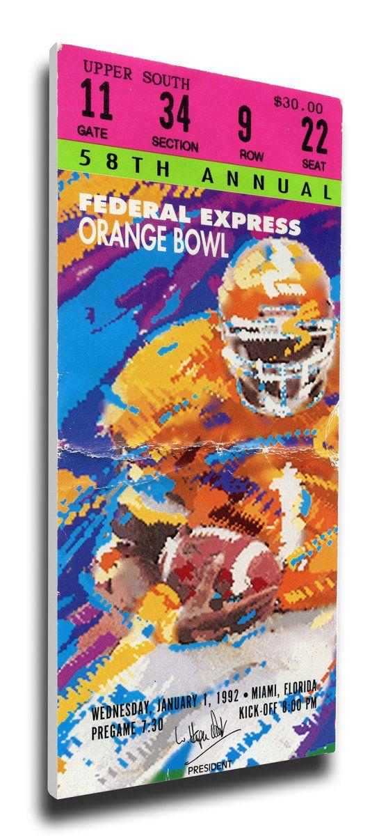 1992 Orange Bowl Canvas Mega Ticket - Miami Hurricanes