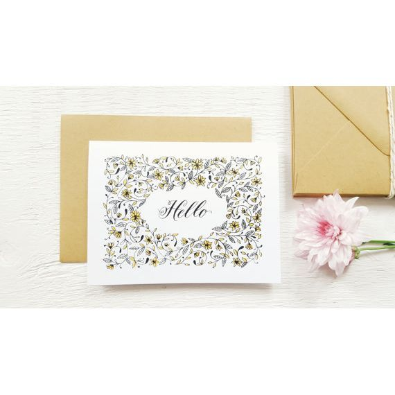 Hello is a two colour screenprinted blank card that can be used for many occasions as a thank you card or just because!