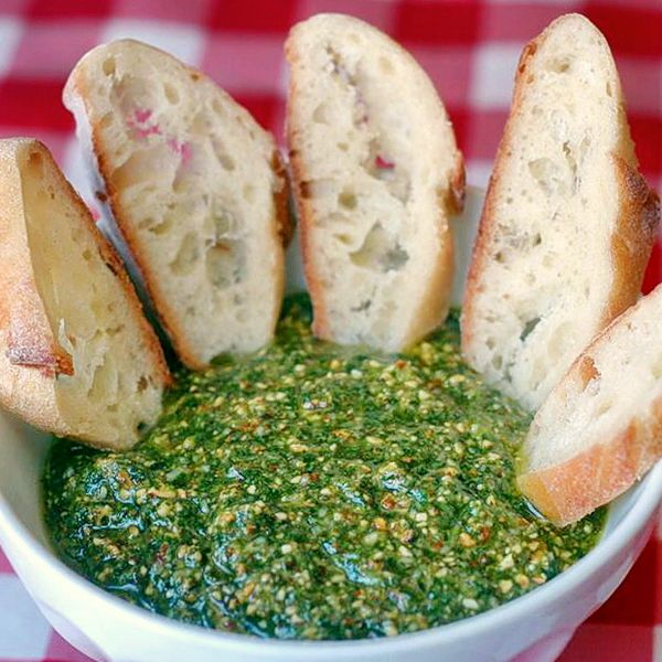 Almond and Italian Parsley Pesto is great served with crusty bread as a party finger food or tossed with pasta for a delicious lunch or dinner; so bright, fresh and flavorful.