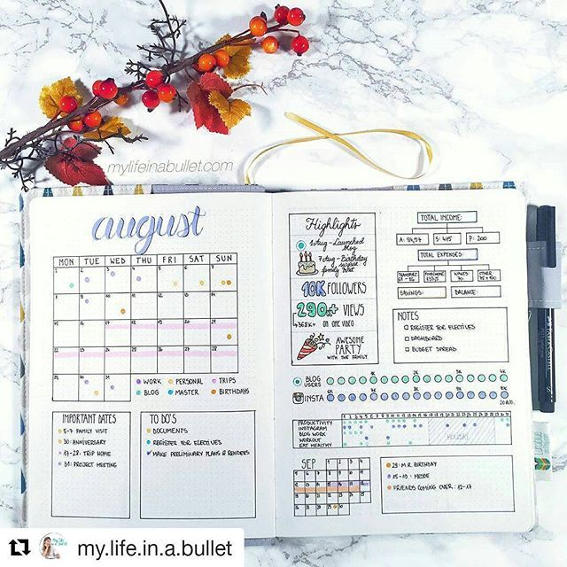 Let's finish the month with this beautifully completed August monthly . . #Repost @my.life.in.a.bullet with @repostapp ・・・ So August is officially over but I'm still in denial... 😢 It's been so hectic lately that I cannot find even 10 minutes to plan for September which makes my mind a complete mess. What do you guys do in times like these? Help a girl out! 😥 . . . .  #bulletjournal #bulletjournalcommunity #bujo #bulletjournaljunkies #bulletjournaladdicts #bulletjournallove…