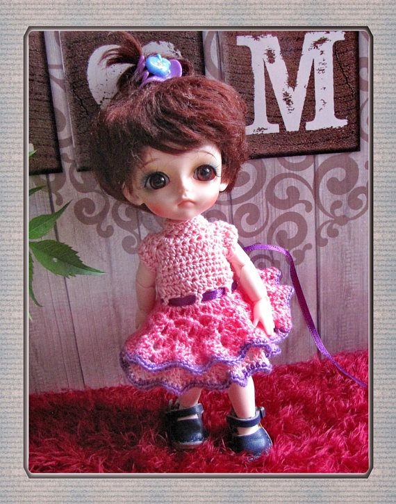 Crochet dres  Doll Bjd / 1/8 Dolls Lati yellow Free Shipping