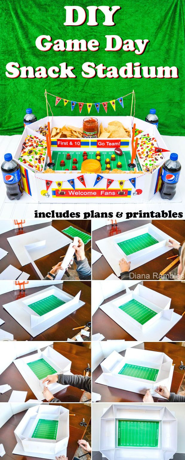 DIY Super Bowl Football Snack Stadium - Includes plans and free printables to decorate the stadium. This snack stadium is really easy to make and can be reused. Great for all your game day parties! AD