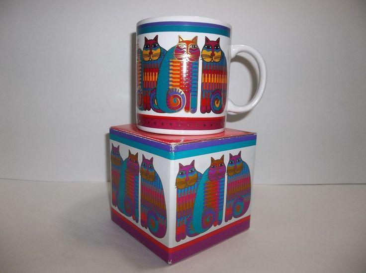 Vintage LAUREL BURCH Rainbow Cat Cousins MUG Purple Coffee Cup