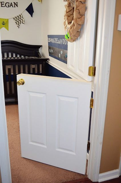 What an awesome idea a Dutch door for a nursery little rugrat can't get out but you can check on him!