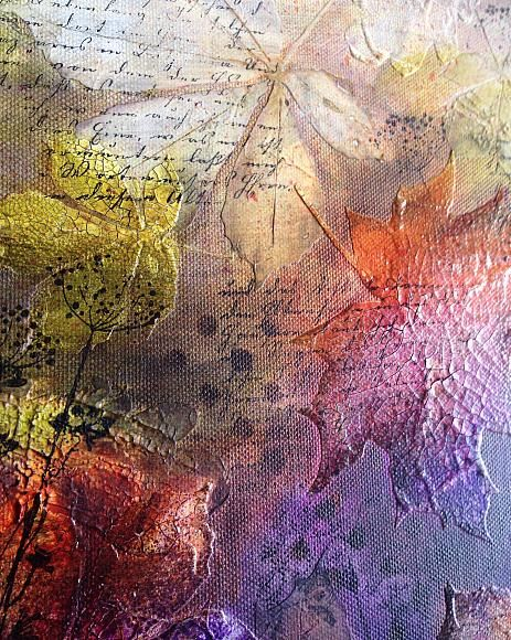 Mixed Media Blog Project - Autumn Leaves - Create a mixed media collage of leaves with modeling paste stenciling and layers of Media Fluid Acrylics.