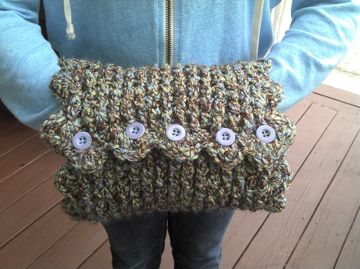 Crocheting With Your Hands : Crochet Hand Muffs accented with buttons...created by Danita