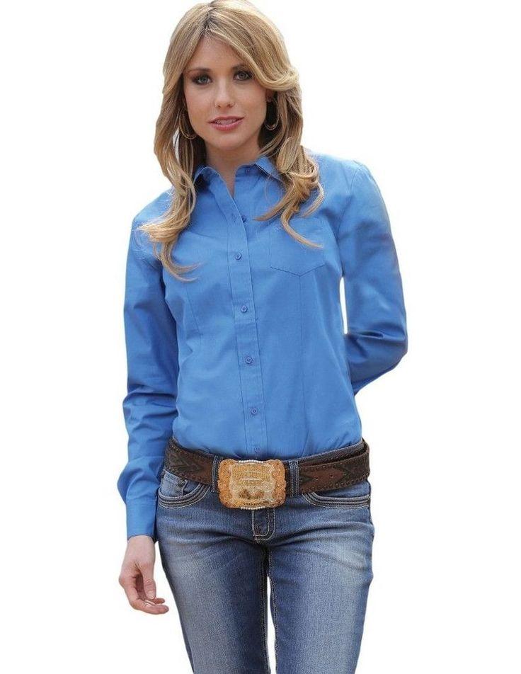 Cruel Girl Western Shirt Womens Long Sleeve Solid Show Blue CTW9164070 #CruelGirl #ButtonDownShirt