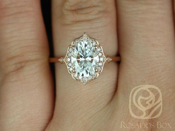 mae 9x7mm 14kt rose gold oval f1 moissanite and diamond halo without milgrain engagement ring other metals and stone options available - Wedding Rings Vintage