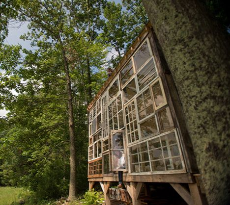 House of Glass: Cabin Facade from Antique Window Frames