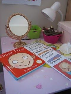 Grab a mirror and this Funny Face book for some fun..Or have real  photos of children in the class making different kinds of faces-happy, sad etc....