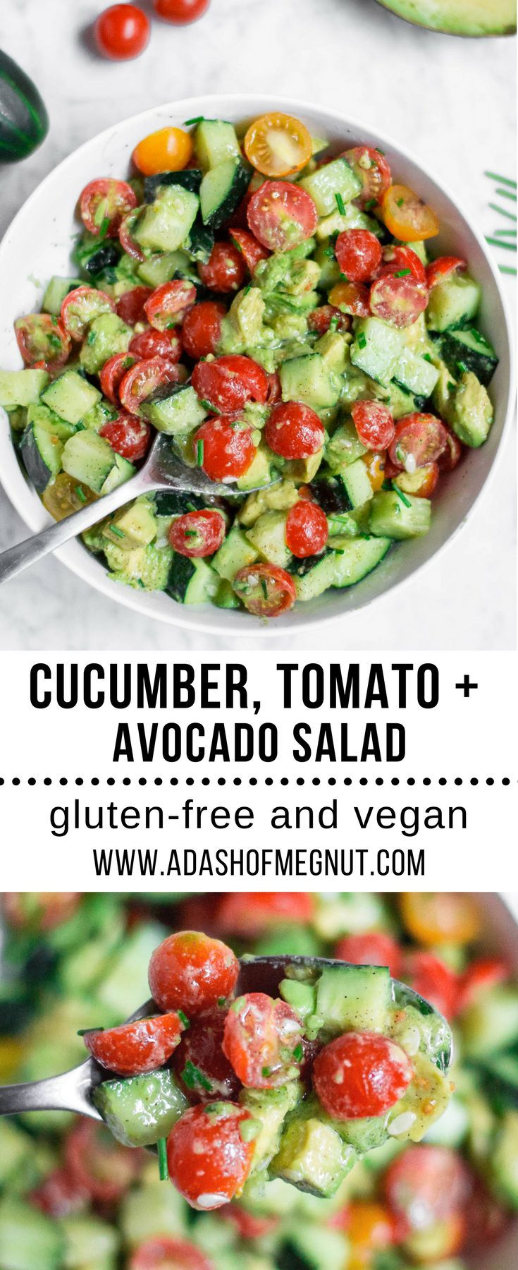 This cucumber tomato avocado salad is a simple and refreshing gluten-free side d…