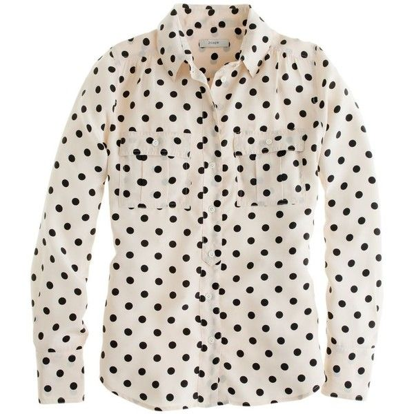 J.Crew Blythe blouse in polka dot (372.530 COP) ❤ liked on Polyvore featuring tops, blouses, shirts, blusas, long sleeve sports shirts, army shirts, long-sleeve shirt, sports shirts and pink polka dot shirt