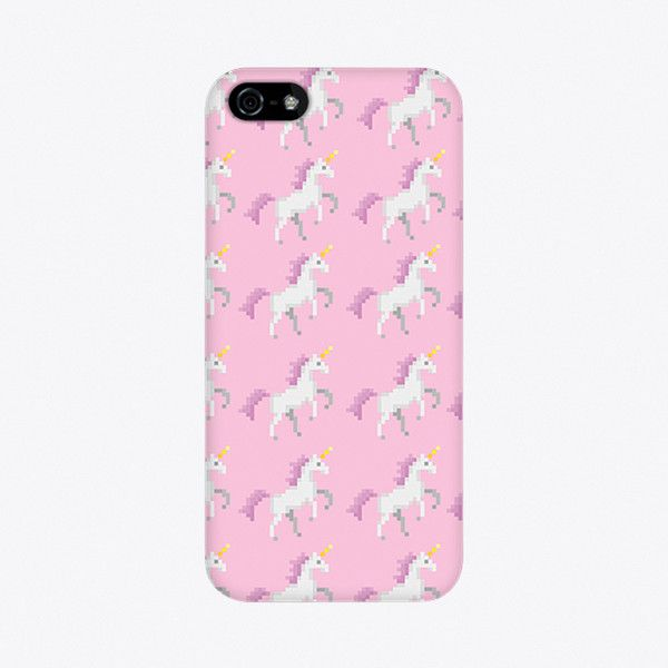 Pixel Unicorn iPhone Case ($28) ❤ liked on Polyvore featuring accessories, tech accessories, phone cases, iphone cover case and iphone sleeve case