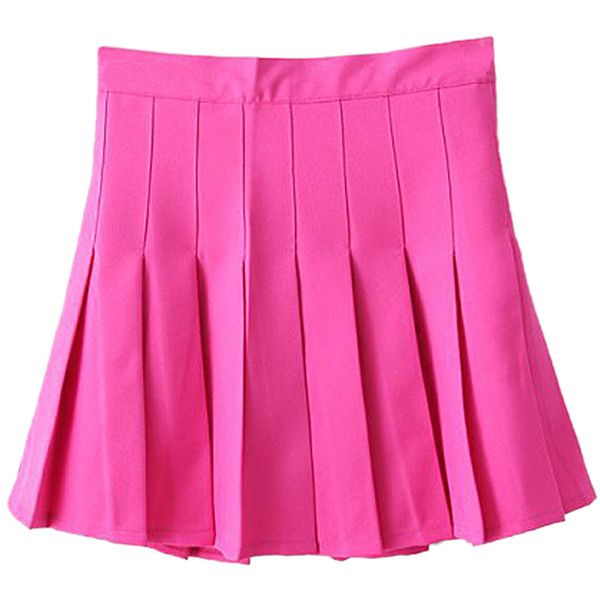 Choies Rose Red Pleated Mini Skirt (900 RUB) ❤ liked on Polyvore featuring skirts, mini skirts, bottoms, pink, short red skirt, short mini skirts, pleated miniskirt, short skirts and short pink skirt