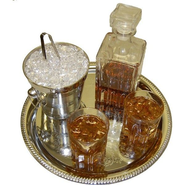 Whiskey Decanter Glass Tray Set FAKE DRINK Decorcentral.com Flora-cal... ($88) ❤ liked on Polyvore featuring home, kitchen & dining, fillers, decor, food, drinks, glass whisky decanter, glass whiskey decanter, glass decanter and whisky decanter