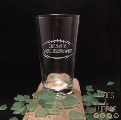 Football Coach Etched Pint Glass Custom Coach by LilacsandLupines                                                                                                                                                                                 More