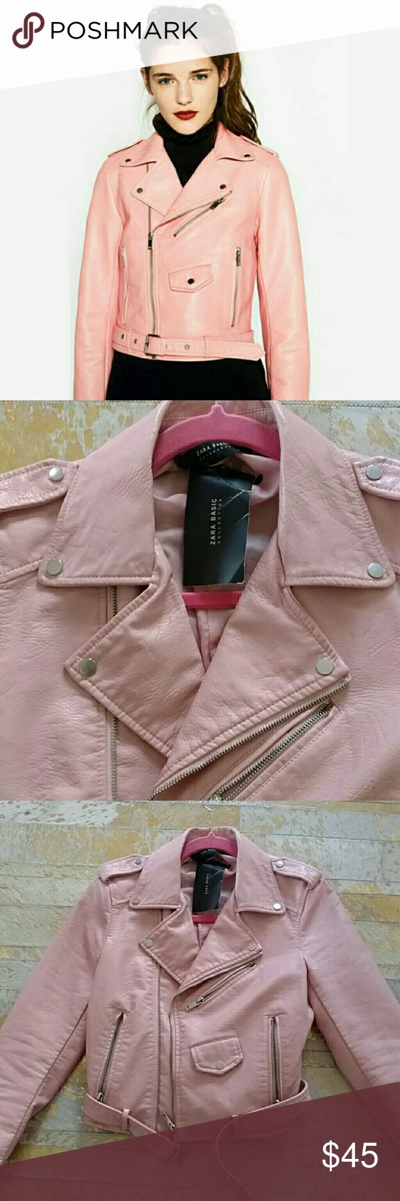 EUC Zara pink faux leather motorcycle jacket Faux