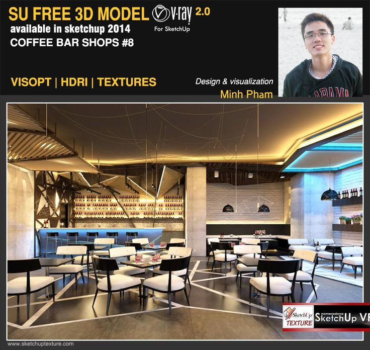 Free Sketchup 3d Model Modern Coffe Bar Vray Visopt Hdri Ies Light And Textures Courtesy