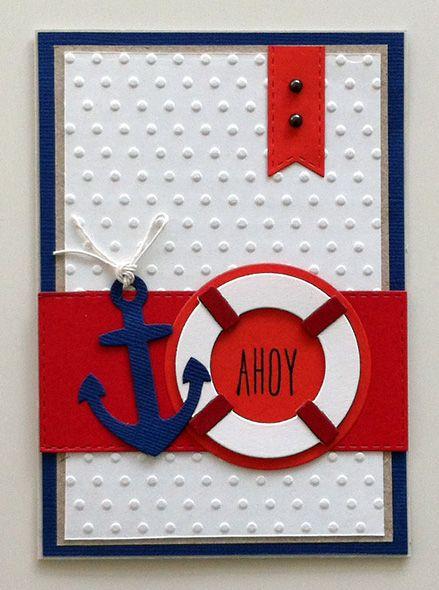 Card nautical - marine - anchor - sea - ocean - MFT dies - Kort marine, maritim, nautisk, anker redningskrans
