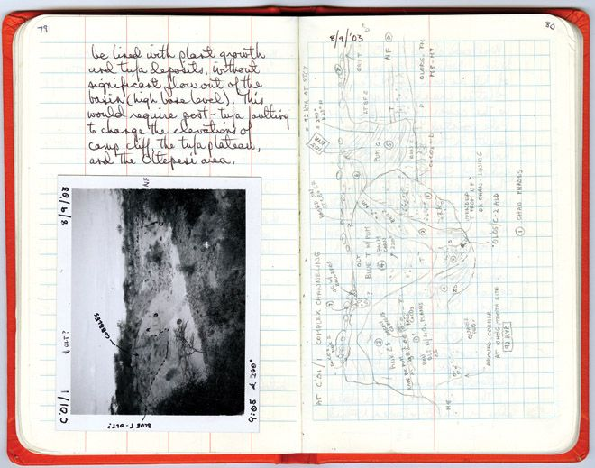 notebook from Olorgesailie, Kenya in 2003 diagramming the complex geological relationships of Pleistocene volcanic channel deposits (right-hand page). The Polaroid shows the same area, but only through careful observing and drawing can one figure out the details of such outcrops. By Anna K. Behrensmeyer. (Harvard University Press).