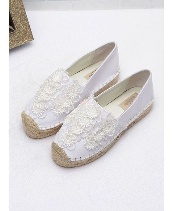 Round toe Cotton Rubber sole Wedding shoes Espadrillas bianche per sposa disponibili online