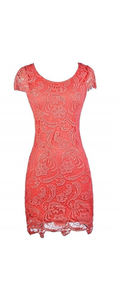 Lily Boutique Nila Crochet Lace Capsleeve Pencil Dress in Coral Shimmer, $45 Coral Metallic Lace Pencil Dress, Cute Coral Lace Dress, Coral and Gold Lace Dress, Coral Capsleeve Lace Pencil Dress www.lilyboutique.com