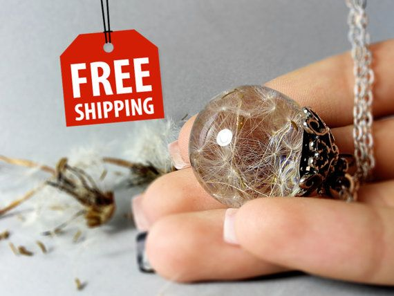 Make a wish sphere botanical jewelry dandelion by ByEmilyRay