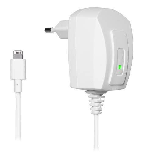 iPhone 5 White Travel Charger with 2Pin Euro Plug (220V) (MFI Approved)..  Stylish and ergonomic MFI approved mains charger for iPhones and iPads. Its small and lightweight design makes it ideal as an extra charger at home, in the office or for travelling.