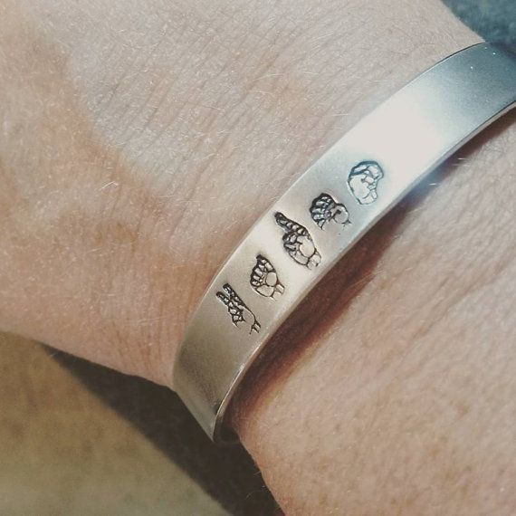 Sign Language Jewelry - Name Cuff Bracelet - Hand Stamped Jewelry - Custom Jewelry - Personalized Cuff Bracelet - ASL Jewelry - Sign Jewelry