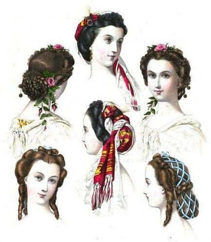 Victorian coloured fashion plate with head dresses, c 1860s
