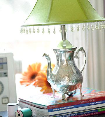 I have always wanted to make a tea pot lamp, I love that this one is silver, not china.