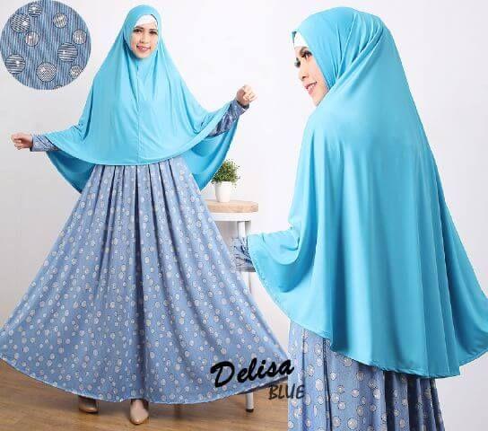 5 Model Gamis Muslimah Motif Bulat Polos Delisa