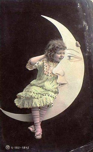 Vintage Postcard ~ Paper Moon by chicks57, via Flickr http://www.pinterest.com/paulatsakiris/vintage-images/