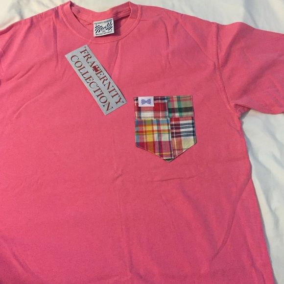 Fraternity Collection t-shirt w/ plaid pocket Never warn still has tags. Pink Fraternity Collection short sleeve t-shirt with plaid front pocket Fraternity Collection Tops Tees - Short Sleeve