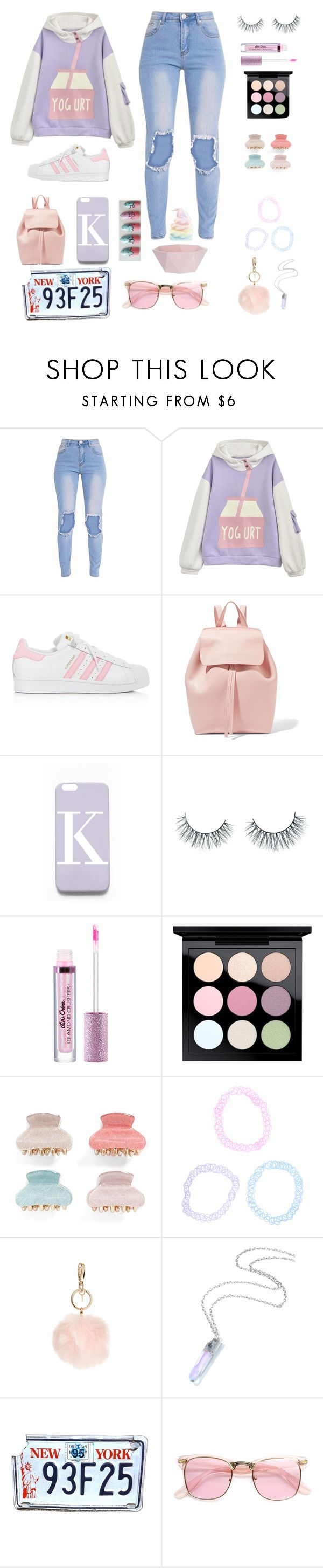 """Pastel Life"" by lakisha-ii ❤ liked on Polyvore featuring adidas, Mansur Gavriel, Rianna Phillips, Unicorn Lashes, MAC Cosmetics, Tasha, GUESS and ZeroUV"